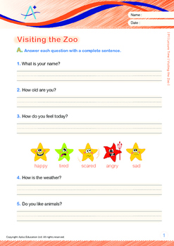 Leisure Time - Visiting the Zoo - Grade 1 (with 'Triple-Track Writing Lines')