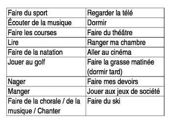 Leisure Time activities - Jeu de Mime
