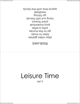Leisure Time (set II) Picture Flashcards