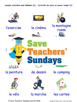 Leisure and Hobbies in French Worksheets, Games, Activities and Flash Cards (1)