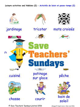 Leisure and Hobbies in French Worksheets, Games, Activities and Flash Cards (2)