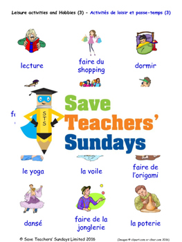 Leisure and Hobbies in French Worksheets, Games, Activities and Flash Cards (3)