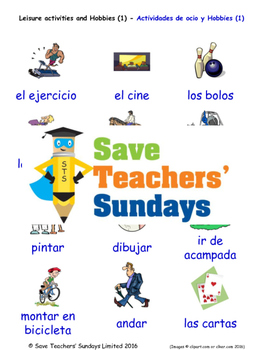 Leisure and Hobbies in Spanish Worksheets, Games, Activities and Flash Cards (1)