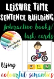 Leisure time interactive book, task cards and writing usin
