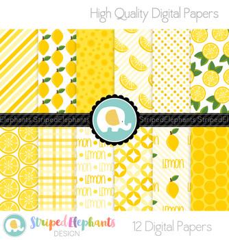 Lemon Citrus Digital Papers