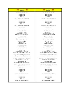 Lemon Cover Song (Heat Energy)  Lyrics Plus Student Interactive Notebook Verison