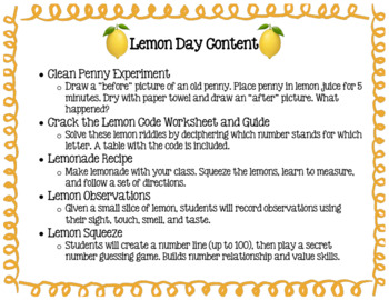 Lemon Day Activities Bundle