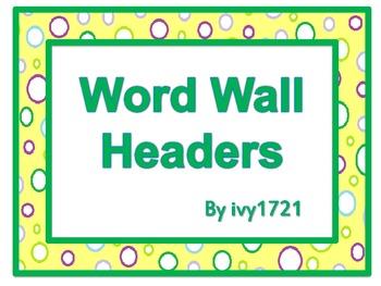 Lemon Dots Word Wall Headers