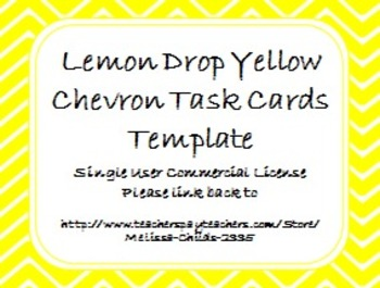 Lemon Drop Yellow Chevron Task Card/Scoot Card Templates