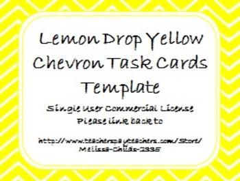 Lemon Drop Yellow Chevron Task Card/Scoot Card Templates