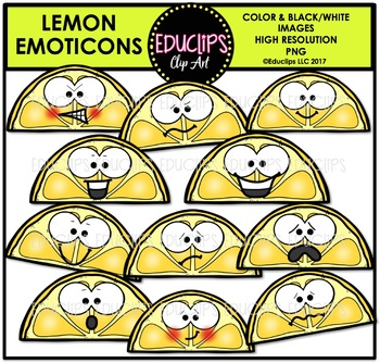 Lemon Emoticons Clip Art Bundle {Educlips Clipart}