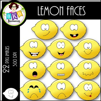 Lemon Faces ● Clipart ● Clipart for Commercial Use
