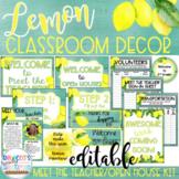 Lemon Farmhouse Classroom Decor Editable Meet the Teacher
