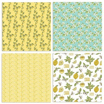 Lemon Fresh Digital Papers, Patterned Summer Backgrounds, Yellow, Teal & Blue