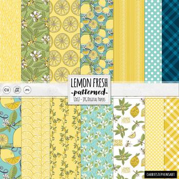 Lemon Fresh Digital Papers, Patterned Summer Backgrounds,