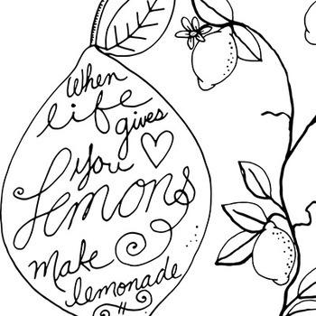 Lemon Fresh Line Art, Summer Fun, Lemon Tree Outline Art Illustration