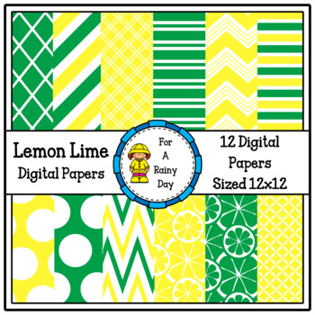 Lemon Lime Digital Papers (Yellow & Green)