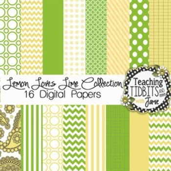 Digital Papers - Lemon Loves Lime Collection {12X12 Personal & Commercial Use}