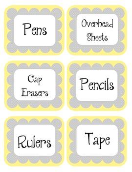 Lemon Mirangue Yellow & Gray Scalloped Polka Dot Labels