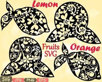 Lemon & Orange Citrus Fruits Juice clipart Mascot Flower Monogram svg -465s