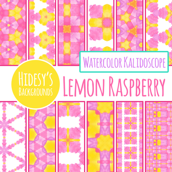 Lemon Raspberry Yellow and Pink Watercolor Backgrounds / Digital Paper Clip Art