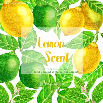 Lemon Scent Lemons Watercolor Clipart Set