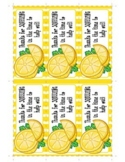 Lemon Squeeze Thank You / Teacher Appreciation Gift Tag