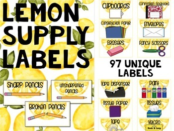 Teacher Toolbox Labels LEMON THEME
