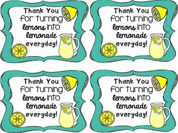 Lemon Thank You Tags