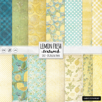 Lemon Yellow Digital Backgrounds, Lightly Textured Digital Paper, Summer