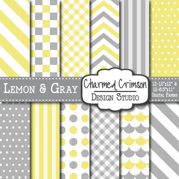Lemon Yellow and Gray Digital Paper 1371