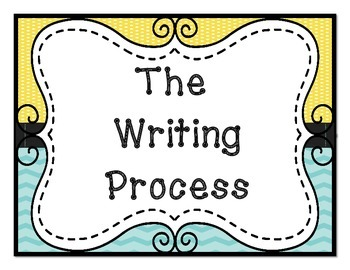 Lemon Yellow and Turquoise Writing Process Clip Chart