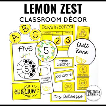 Lemon Zest Watercolor Classroom Decor Bundle