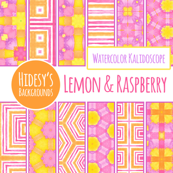 Lemon and Raspberry Kalidoscope Watercolor Handpainted Digital Paper