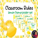 Lemon theme classroom rules poster set back to school clas