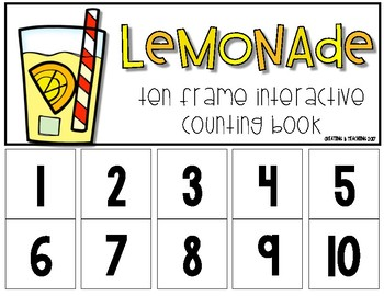 Lemonade 10 Frame Counting Interactive Book