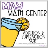Lemonade Addition and Subtraction Sort Kindergarten May Math Center