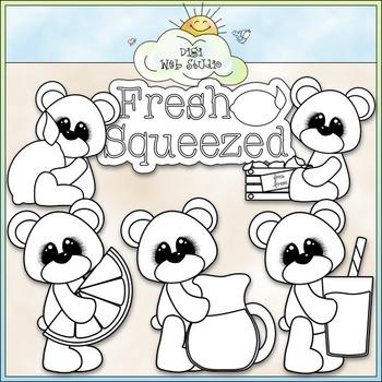 Lemonade Bears Clip Art - Bears With Lemons Clip Art - CU Clip Art & B&W