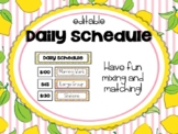 Lemonade Classroom Decor: Editable Daily Schedule