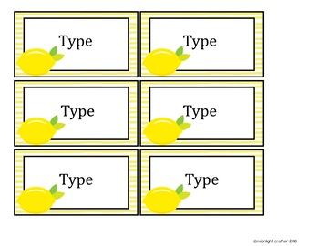 Lemonade Classroom Theme Book Bin Labels