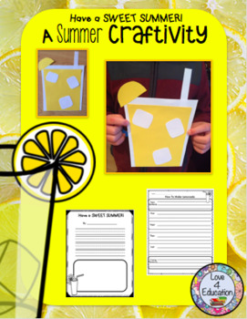 Lemonade Craftivity (Summer and Back to School!)