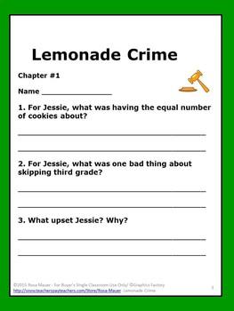 The Lemonade Crime Book Unit