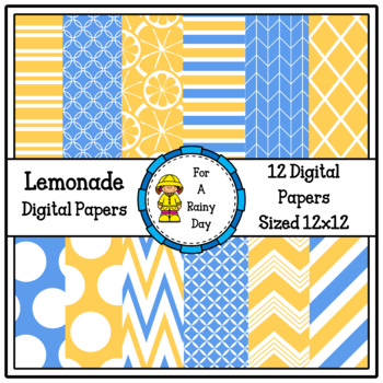 Lemonade Digital Papers (Blue & Yellow)