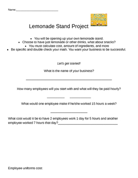 Lemonade/Drink Stand: Project Based Learning