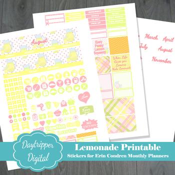 lemonade erin condren monthly planner printable stickers