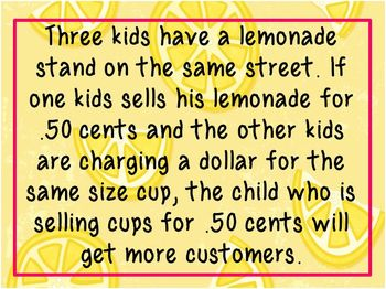 Lemonade For Sale (3rd Grade Version)- New TEKS aligned