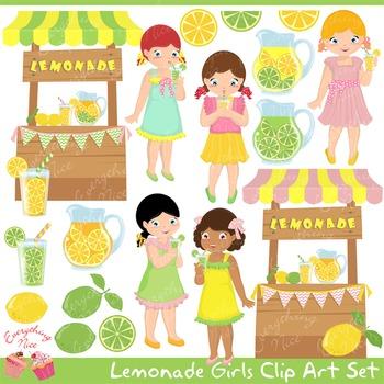 Lemonade Girls Clip Art Set