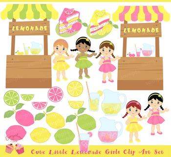 Lemonade Girls Lemonade Stand Clip Art Set
