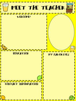 Lemonade Meet the Teacher Template (Editable)