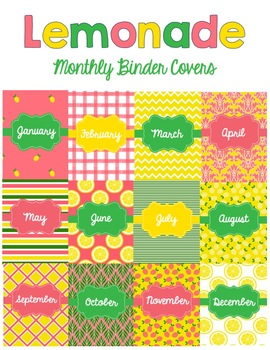 Lemonade Monthly Binder Covers and Spines